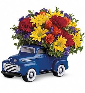 Teleflora's Ford Pickup Truck Fresh Flower Arrangement in a keepsake container