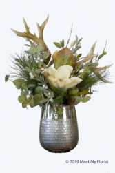 Forest Surprises  ***Faux Flowers***Hammered Metal Vase