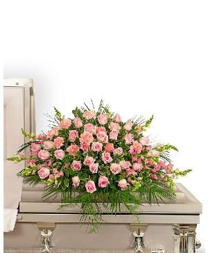 Forever Adored Casket Spray Sympathy in Nevada, IA | Flower Bed