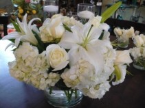 At Peace   White Hydrangea, Lilies, Roses in Glass Cylinder