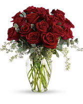 Forever Beloved   16 stems red roses  seeded eucalyptus