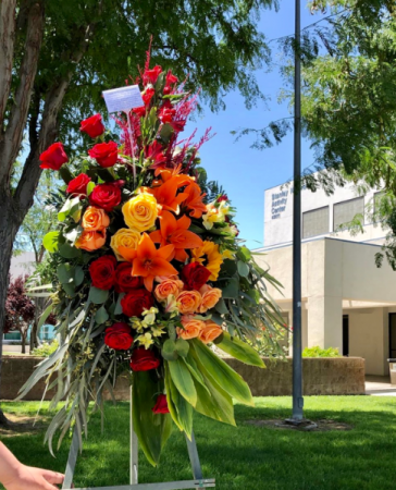 Forever Bright Standing Spray Funeral Arrangement