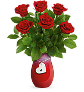 Forever Charming with 6 Red Roses