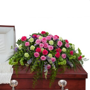 Forever Cherished Casket Spray - As Shown (Deluxe) Spray