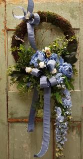 Forever Flower Wreath in Blues