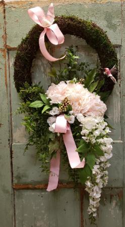 Forever Flower Wreath In Pinks