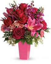 Forever Fuchsia one-sided vase arrangement
