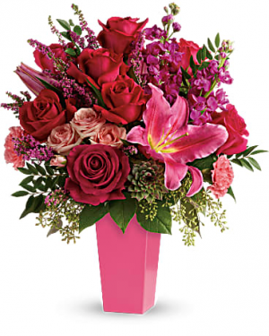 Forever Fuchsia one-sided vase arrangement in Osoyoos, BC | Osoyoos Flowers