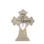 Forever in Our Hearts Pedestal Cross Statue