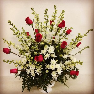 Forever In Our Hearts Red Roses with White Accents in Plainview, TX | Kan Del's Floral, Candles & Gifts