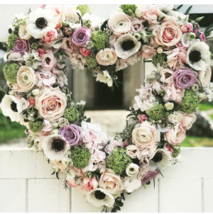 Forever in our hearts Sympathy standing heart wreath in Lompoc, CA | BELLA FLORIST AND GIFTS