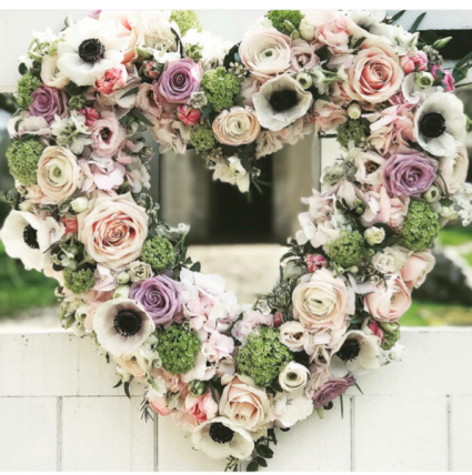 Forever in our hearts Sympathy standing heart wreath