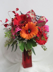 Forever Love Fresh Vased Arrangement of mixed color Gerbera Daisies