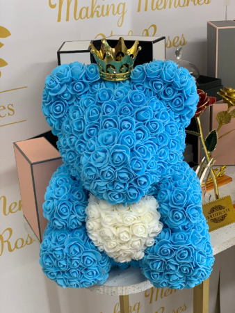Forever Rose Teddy Bear Blue Rose Teddy Bear