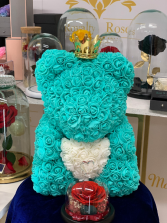 Forever Rose Teddy Bear Light Blue Rose Teddy Bear