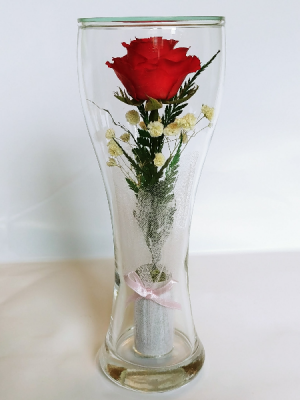 Forever Roses #TVRED (only blue and purple color) Forever Roses arranged in sealed glass 23cm high in Vancouver, BC | ARIA FLORIST
