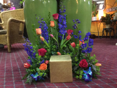 Forever vibrant Urn sympathy bouquet