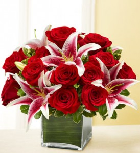 FOREVER YOURS 18 Red Roses & Stargazer Lilies in Worthington, OH | UP-TOWNE FLOWERS & GIFT SHOPPE