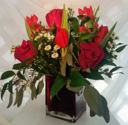 Forever Yours Rose and Tulip Vase Arrangement