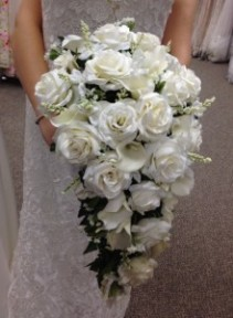 Formal White and Ivory Cascading Bridal Bouquet