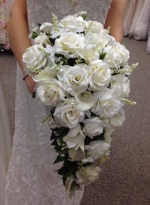 Formal White And Ivory Cascading Bridal Bouquet Bridal Bouquet In