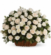 Forty-Eight White Rose Basket Sympathy Arrangement