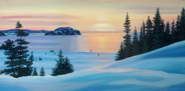 Fox Island Skiers Ed Roche Prints