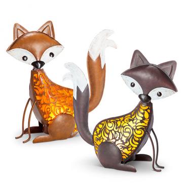 Solar Lighted Metal Fox