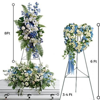 FP-3 3 PC. Funeral Package/Casket Open Heart & Standing Spray