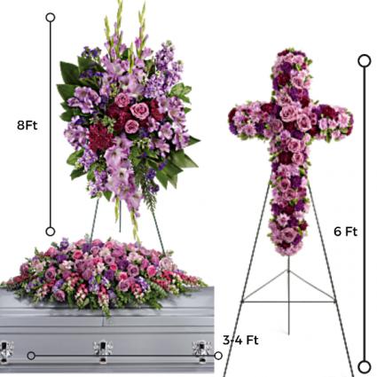 FP-6 3 PC. Funeral Package/Casket, Cross & Standing Spray