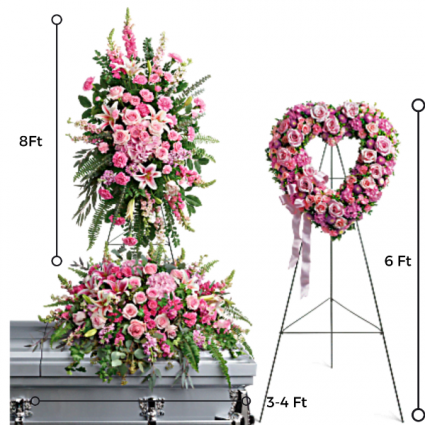 FP-6A 3 PC. Funeral Package/Casket Open Heart & Standing Spray