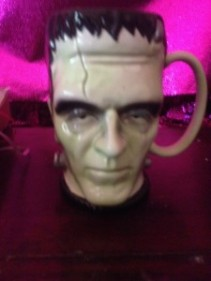 frankinstein mug /flowers