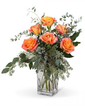 Free Spirit Roses (6) Flower Arrangement in Nevada, IA | Flower Bed