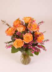 Dozen Orange Roses Arranged with fillers * fillers may be different