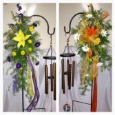 Free Standing Wind Chimes with Fresh Flowers