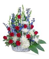 Freedom Tribute Basket Flower Arrangement
