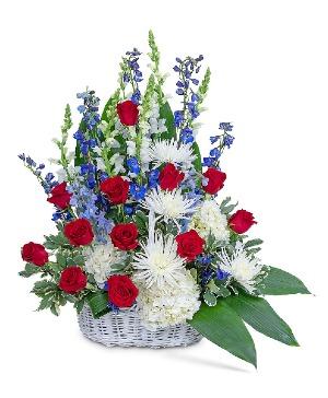 Freedom Tribute Basket Flower Arrangement in Nevada, IA | Flower Bed