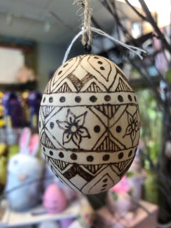 Freehand Wood-burned Egg