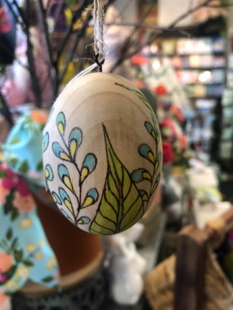 Freehand Wood-burned, hand-painted Egg