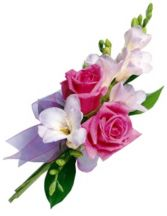 FREESIA & SPRAY ROSE CORSAGE