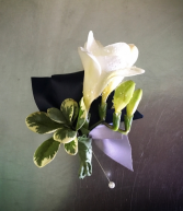 Freesia with Ribbon Boutonniere