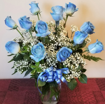 French Blue Dozen Roses Fantasy Arrangement