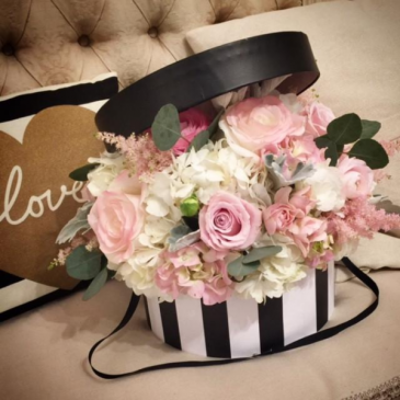 French Striped Hat Box Arrangement