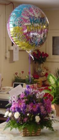 Fresh Arrangement With Birthday Mylar  in Jerusalem, OH | MALAGA GREENHOUSE FLORIST & GIFT SHOP