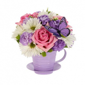 Fresh As Lavender Teacup Arrangement