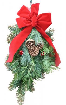 fresh christmas green swag with ribbon christmas greens - Christmas Greens