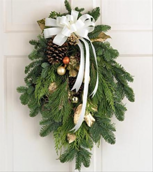 Christmas Swag for the Door or Mailbox Fresh Christmas Greens in Magnolia, TX | ANTIQUE ROSE FLORIST