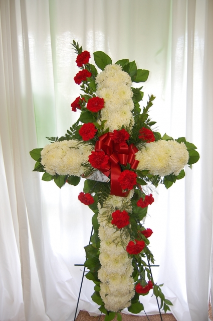 Fresh Cross Red Carnation Spray Funeral Flowers In Jacksonville Fl