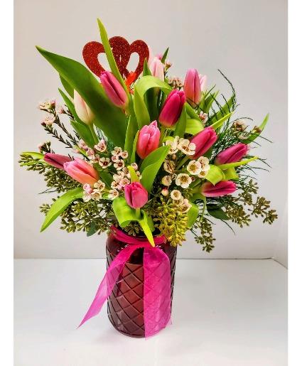 Fresh Cut Tulips Vase Arrangement