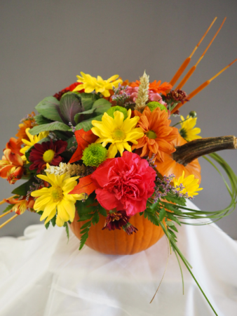 Fresh Fall Pumpkin Flower Arrangement